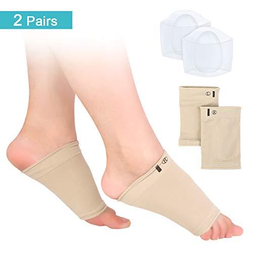 Arch Support Sleeves, Soft Compression Arch Support Brace and Gel Arch Support Sleeves, For Flat Feet, Plantar Fasziitis, High Arch Schmerz Linderung für Männer und Frauen, 2 Paar -