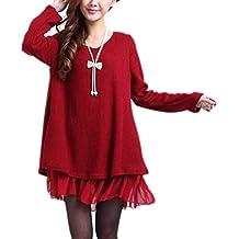 Vestito in Maglia Chiffon Manica Lunga Maglione Knit Abiti Autunno Inverno  Donna Pullover Collo Rotondo Sciolto d5b3e462284