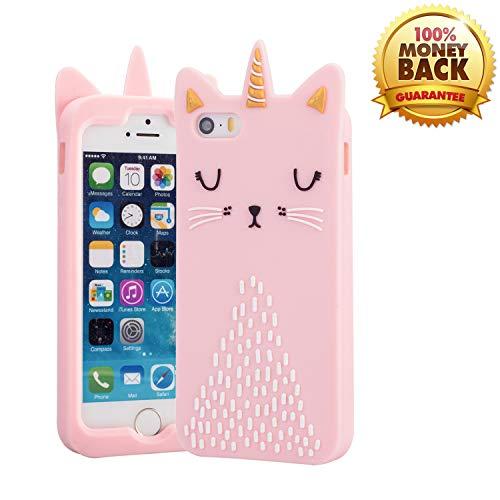 3D-Schutzhülle für iPhone 5 / 5S / SE, Kawaii süße Cartoon-Tiere, weiches Silikon, stoßfest, modischer Fallschutz, langlebig, für Mädchen und Kinder, Rosa/Katze Iphone 5 Tier