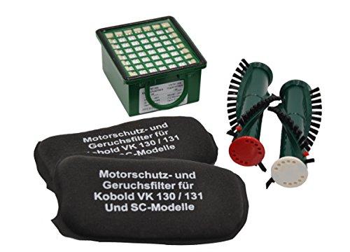 SET Hygienefeinfilter + 2 Geruchsfilter Aktivkohlefilter geeingnet für Vorwerk Kobold VK 130 oder 131 auch SC + 1 Paar Ersatzbürsten geeignet für Elektroteppichbürste EB 350 / 351 / 340 (Motor Bürsten-ersatz)