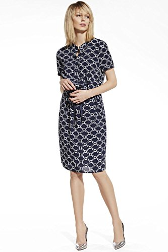 Ennywear 230036 Robe Feminine Top Qualité Deux Couelrus Avec Doublure Manches Courtes Col Cassé- Fabriqué En UE bleu marine-blanc