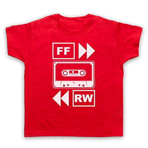 My Icon Art & Clothing Fast Forward Tape Cassette Camiseta para Niños, Rojo, 1-2 Años