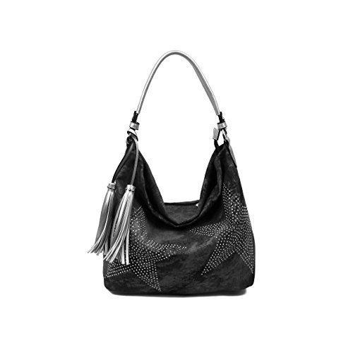 obc-ital-design-xxl-damen-stern-tasche-fransen-handtasche-canvas-baumwolle-strasssteine-gold-silber-