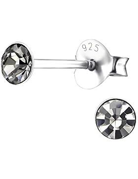 Laimons Damen-Ohrstecker Glitzer rund grau Sterling Silber 925