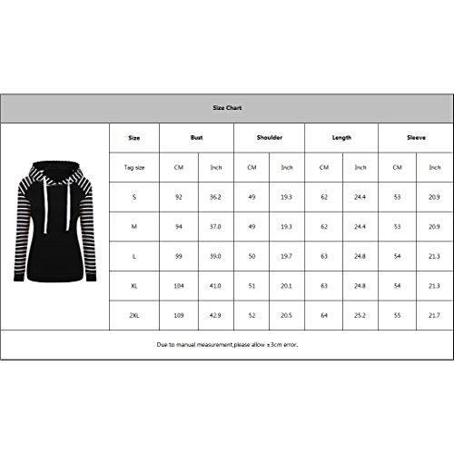 Sweats à capuche pour Femmes Filles - Rayé Slim Tops de Sport Hoodies con Cordon Manches Longues Casual Encapuchonné Veste Chaud Pull Manteau S-2XL Gris