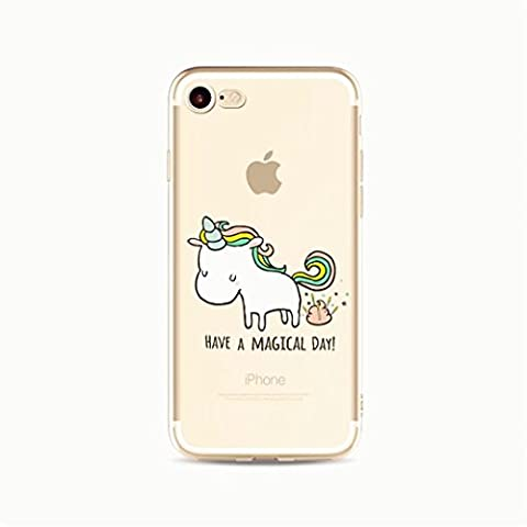 KSHOP Coque de protection en silicone souple cristal pour iPhone 6 plus /iphone 6s plus 5.5 Téléphone CaseTPU Slim Transpatent Anti-rayures Antichocs Modèle d'animation dessiné à la main-Have a magical Day Licorne
