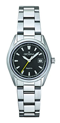 Grovana Women's Quartz Watch with Black Dial Analogue Display and Silver Stainless Steel Bracelet 5584.1138