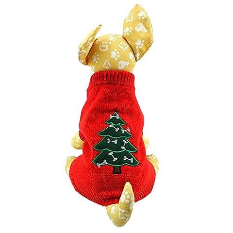 Welpen Kleiner Hund Kleidung Kostüm Xmas Weihnachten Pullover XS/S/M/L (Kleiner Hund Kostüme)
