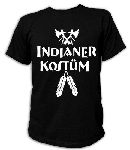 Artdiktat T-Shirt Indianer Kostüm Karneval Fasching Unisex, Größe XXXL, schwarz (Schwarze Und Weiße Indianer Kostüm)