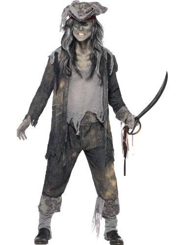Halloween! Smiffys Kostüm Geisterschiff-Ghul, mit Frack, Hose und Hut, Farblos, M