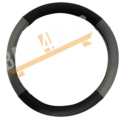 UKB4C Grey Black Leather Stitched Steering Wheel Cover for Jeep Commander All Years