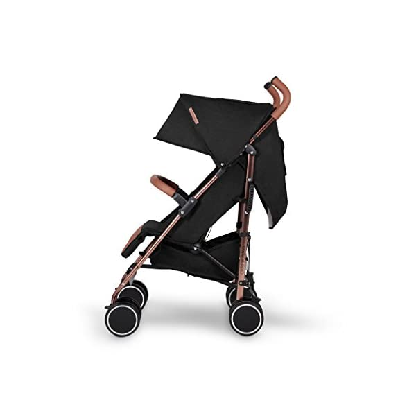 Ickle Bubba Baby Discovery Stroller| Lightweight Stroller Pushchair | Compact Fold Technology for Easy Transport and Storage | UPF 50+ Extendable Hood | Black/Rose Gold Ickle Bubba ONE-HANDED 3 POSITION SEAT RECLINE: Baby stroller suitable from birth to 20kg-approx. 4 years old; features rain cover UPF 50+ RATED ADJUSTABLE HOOD: Includes a peekaboo window to keep an eye on the little one; extendable hood-UPF rated-to protect against the sun's harmful rays and inclement weather LIGHTWEIGHT DESIGN WITH COMPACT FOLD TECHNOLOGY: Easy to transport, aluminum frame is lightweight and portable-weighs only 7kg; folds compact for storage in small places; carry strap and leather shoulder pad included 4