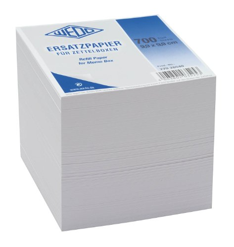 Wedo 27026540 Ersatzpapier (für Zettelbox holzfrei, 9,9 x 9,9 cm) 700 Blatt) weiß -