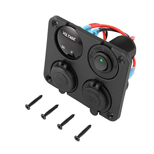 Ports Autoladegerät + LED Voltmeter + 12-24 V Steckdose + EIN-Aus-Schalter 4 in 1 Auto Marine Boat LED Switch Panel ()