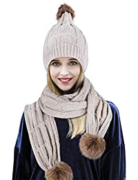 RUIXIB Ensemble Bonnet et Écharpe Femme Fille Chapeau Tricoté Hiver Bonnet  Pompon Femme Bonnet Cache Oreilles Femme Homme Cache-col… 6c8cb58e287