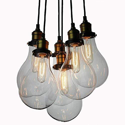 BYDXZ / Luminaire Suspendu Vintage, Suspension en Verre Clair, Style loft, luminaire Suspendu, 6 lumières, Noir