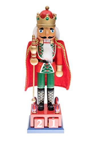 Tradicional rey cascanueces por Clever creaciones | Coleccionable de madera Navidad cascanueces | soporte de Navidad decoración de Navidad | calendario de adviento | rojo y verde | Holding cetro de oro | 100% madera | 15cm