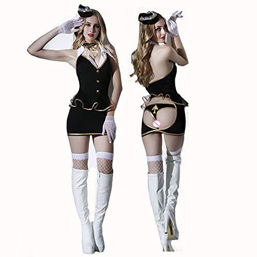 Uniform Stewardess Kostüm - HJG Sexy Flugbegleiterin Kostüm für Damen, Stewardess Uniform Cosplay Halloween Party