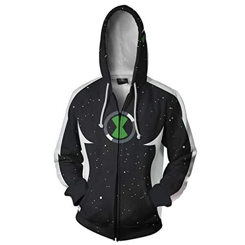 SDKHIN Hoodies Ben 10 Alien Force 3D Print Rollkragenpullover Strickjacke Cosplay Kostüm Zipper Jacke Sweatshirt,Black-XXXXXL