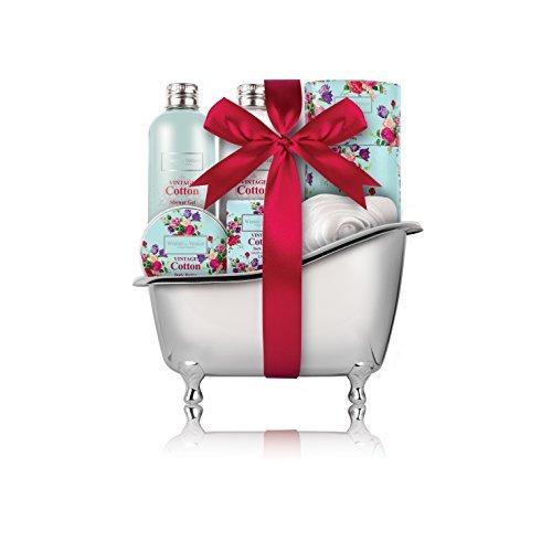 Winter in Venice - Vintage Cotton Baignoire - toiletries de luxe infusées aux fruits naturels et extraits de plantes emballés dans une salle de bains réutilisable Caddy. Gagner et Prix Meilleures ventes Ensemble de cadeaux de bain primé