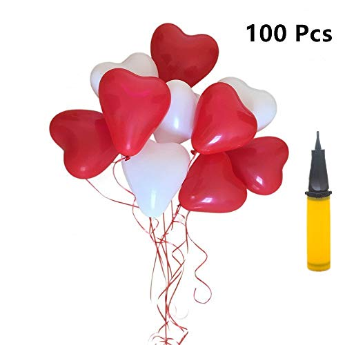 Herzluftballon Hochzeit, Party Deko ROT WEIßE, 100 Luftballons Herzluftballons Hochzeit, Herzballons Herz Ballons ROT WEIßE Mit Pumpe Herzen Ballons Dekorationen Für Party Hochzeit Valentinstag