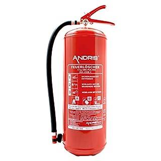 ANDRIS® Feuerlöscher 9kg ABC Pulverlöscher 15 LE mit Manometer DIN EN3, Löschmittel:ABC Pulver