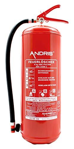 9kg ABC Pulver Feuerlöscher EN3 + ANDRIS® Prüfnachweis mit Jahresmarke, ISO Piktogramm und Zubehör