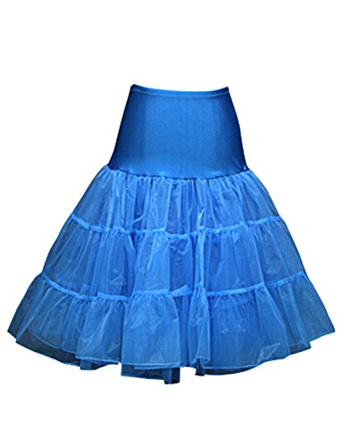 Sarahbridal Damen 56er Mini Petticoat Reifrock fuer Ballett Kleider Tutu Cocktailkleid Vintage Crinoline Unterrock S12018 Blau - Himmelblau