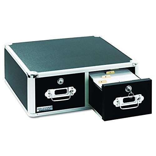 Vaultz Karten-Schrank mit 2 Schubladen, Schwarz 5 x 8 schwarz