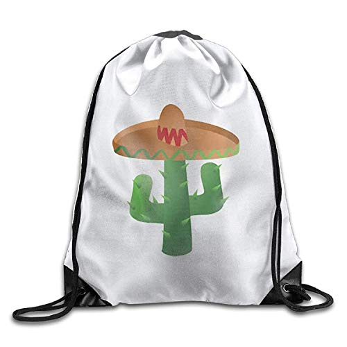 KIMIOE Turnbeutel Cactus Wearing Sombrero Halloween Unisex Gym Large Drawstring Bucket Bag Shoulder Bag Backpack String Bags
