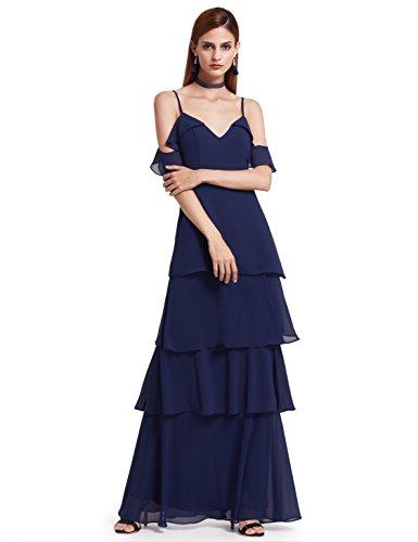 Ever Pretty Frauen elegante sexy V-Ausschnitt Rüschen verstellbare Festkleid Brautjungfern Kleid 38...