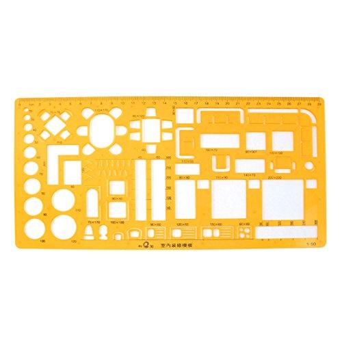 Schablone für geometrische Formen mit Lineal, Kunststoff, 0 - 29cm, Orange 29 Formen
