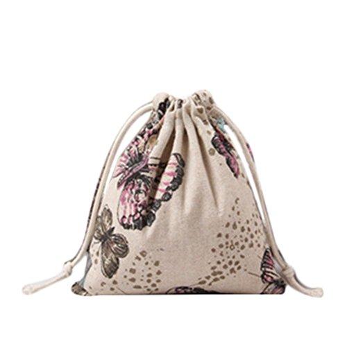 e Beutel Geschenk Tasche Gedruckt Hanf Schmetterling Gebündelt Kordelzug Tee Geschenk Süßigkeiten Taschen Lagerung Tasche Kosmetiktaschen 19 * 24 cm ()