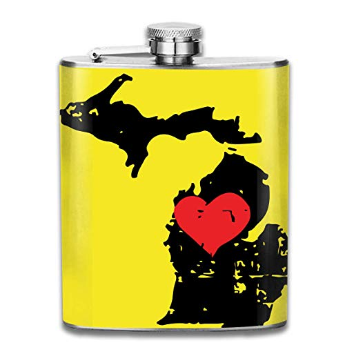 dfegyfr Men and Women Thick Stainless Steel Hip Flask 7 OZ Michigan State Map with Heart Pocket Container for Drinking Liquor Vodka -