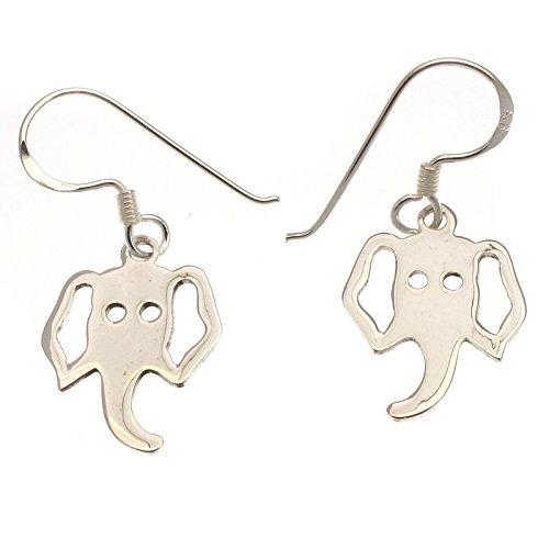 Plata de Ley Pendientes De Gota Diseño de cabeza de elefantes