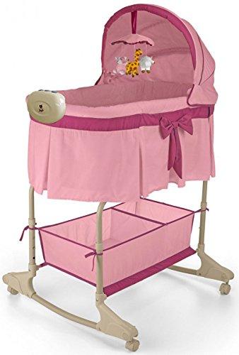 Best For Kids Wiege Stubenbett 4 in 1 Schaukelwiege Babybett mit Melodie, Vibration, Licht, Nachtlampe und Schaukel in zwei Farben zur Auswahl. PRIMA (Pink - Easy)