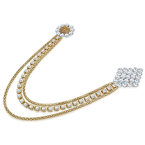 The Luxor Fashionable Floral Patteren Golden & White Gold Plated Saree Brooch...