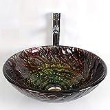 SEEKSUNG Waschschalen Moderne Badezimmer runden gehärtetes Glas Set Waschbecken Klein Rund Natur Oval