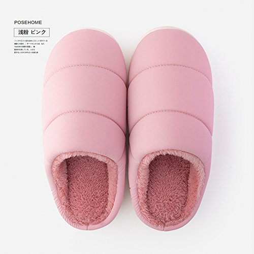 Coppie fankou home cotone femmina pantofole home indoor giovane caldo scarpe antiscivolo pantofole genitore maschio di inverno Braun