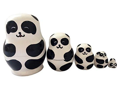 Happy Cherry 5pcs Handgemachte DIY Hölzerne Russische Verschachtelungs Puppen Geschenk Traditionelle Russische Nesting Wishing Puppen Panda Matroschka Tier Matroschka 10 * 4.7 CM