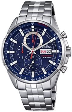 Festina Chrono–Reloj de cuarzo para hombre con cronógrafo para hombre (mecanismo de cuarzo, esfera azul y plata pulsera de acero inoxidable f6844/3