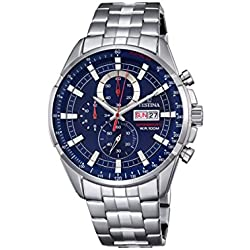 Festina CHRONO Men's Quartz Watch with Blue Dial Chronograph Display and Silver Stainless Steel Bracelet F6844/3