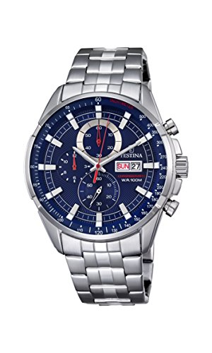 Orologio Uomo Quarzo Festina display Cronografo cinturino Acciaio inossidabile Argento e quadrante Blu F6844/3