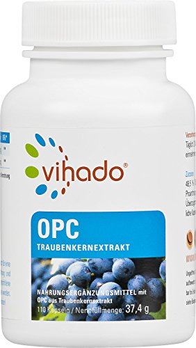 Vihado OPC Traubenkernextrakt Kapseln hochdosiert + rein + vegan + Made in Germany, 110 Kapseln, 1er Pack (1 x 37,4 g)