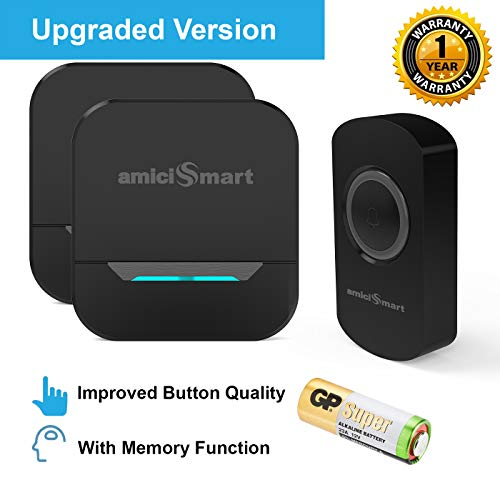 amiciSmart Wireless Doorbell Long Range Waterproof Push Button and Plug-in Receiver, LED Flash 32 Chime Tunes 3 Volume Levels with Battery (1 Transmitter and 2 Receiver(Black))
