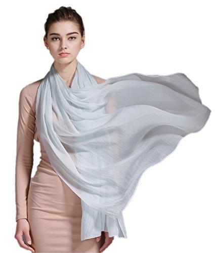 Prettystern 200/140 foulard di 100% Seta scialle sciarpa pareo sarong estate matrimonio festa A02 luce argento