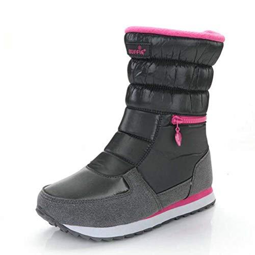 Kostüm Elf Samt Kind - Qianliuk Winter Kinder Schnee Stiefel mit Seitlichem Reißverschluss Plus Samt Stiefel Wasserdichte Warme Plüsch Schuhe Verdicken Mädchen Gummi Waden Stiefel