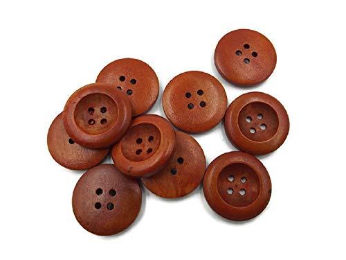 SiAura Material - 10 Stück Holzknöpfe Rund Braun Lasiert, Durchmesser 25mm, 4 Löcher