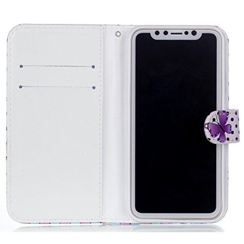 Coque iPhone X, Voguecase Housse en PU Cuir avec Support Fonction Étui de Protection Magnétique avec Porte-cartes pour Apple iPhone X (Pissenlit 07) + Gratuit stylet l'écran aléatoire universelle Pink/bleu papillons
