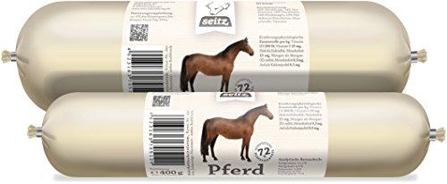 Hundewurst * Pferd pur * 6x 400g schnittfeste Fleischwurst für Hunde | Perfekt für Allergiker da 100% Pferdefleisch mit Pferdeinnereien
